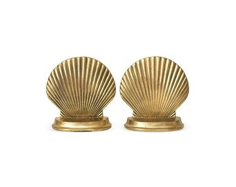 Hollywood Regency Solid Brass Shell Bookends-A Pair