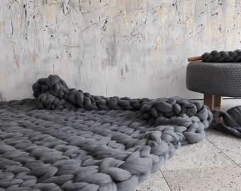 "Merino rug ""Winter"", merino blanket, xxl blanket, coarse knit blanket, chunky knit blanket"