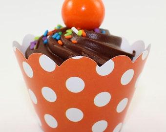 12 Orange Polka Dot Cupcake Wrappers
