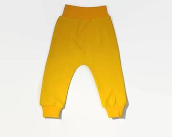 yellow baby pants, baby harem pants, organic pants, yellow pants, yellow harem pants, harem pants, baby leggings, baby pants, organic baby