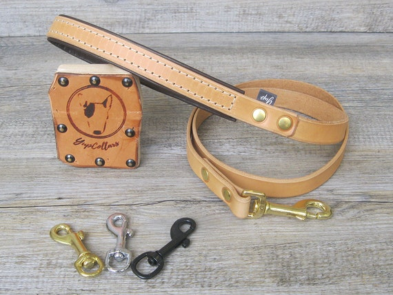 Tan Leather Dog Leash with Soft Padded Handle, Custom Lenght and Width, Brass, Nickel or Black Hardware, Handmade Dog Lead, Comfort Dog Lead