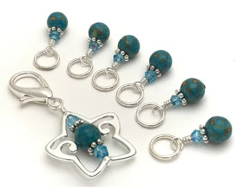 Blue Snag Free Stitch Markers & Star Beaded Marker Holder- Knitting Gift