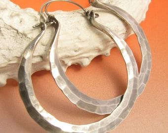 Rio Hoops, Large Sterling Silver Hoops, Metalsmithed Hammered Hoop Earrings, Handcrafted Artisan Jewelry, Large Silver Earrings Forged Hoops