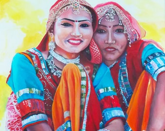 Indian Girls. Original painting by Kirsten Todd