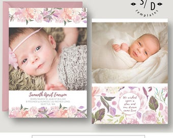 girl birth announcement template etsy