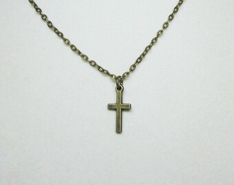 Mens Antiqued Gold Cross Necklace Unisex Jewelry