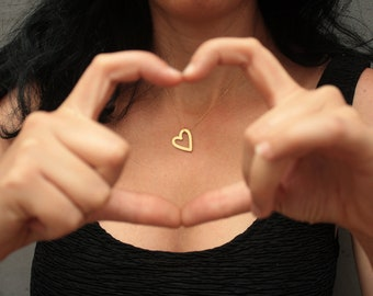 Hollow Heart Necklace, Gold Heart Pendant, Heart Charm, Necklace for Girls, Gift For Her, Small Heart, Heart Outline, Delicate Heart Charm