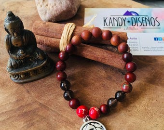 Mala Bracelet for Men, Wrist Mala, Yoga Bracelet, Energy Mala Bracelet, Jasper Smoky Quartz Wood Bracelet, Gift for him, red mala bracelet