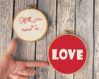 Love  Valentine's day embroidery hoop, wedding decor, wedding gift ,All you need is love wall art set of 2 red and cream Made to order