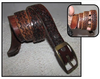 Vintage Worn Tooled Brown Leather Belt w/ Removable Brass Buckle, Western