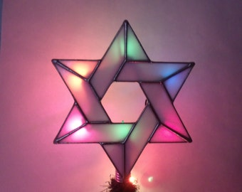 White Star of David Tree Topper with Light Clips, Lighted Interfaith Star, Stained Glass Jewish Star, Six Point Star for Blended Families