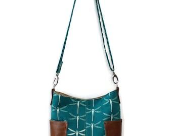 Dragonfly Purse, Vegan Crossbody Bag, Organic Fabric Bag, Hobo Bag Purse, Dragonfly Gift for Her, Gift for Mom, Fabric Purse, Cross Body Bag