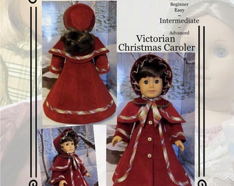"PDF Pattern KDD07 ""Victorian Christmas Caroler"" An Original KeepersDollyDuds Design Pattern -18"" Doll clothes"
