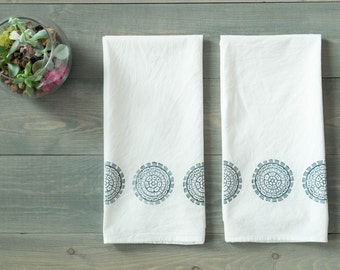 Tea towel set, Flour sack towels, Boho decor, Kitchen towel set, Bridal shower gift idea, Housewarming, Block printed by hand, Blue & white