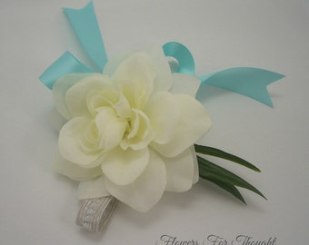 Gardenia Wrist Corsage, Wedding Party Flowers, Prom or Homecoming Gift