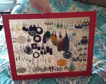 SALE: Red Frame Jewelry Storage