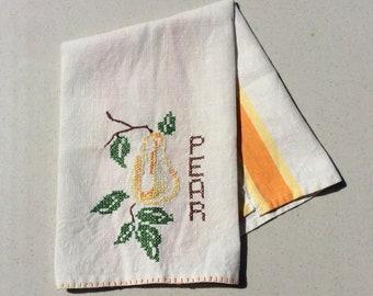 Vintage Embroidered Towel Pear Striped Towels Retro Kitchen