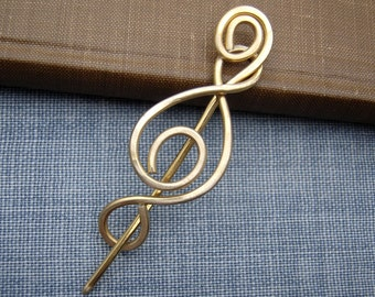Madonna Swirl Brass Shawl Pin, Scarf Pin, Sweater Clip, Brooch, Sweater Fastener, Closure, Hair Pin, Jewelry, Knitting Accessories, Women