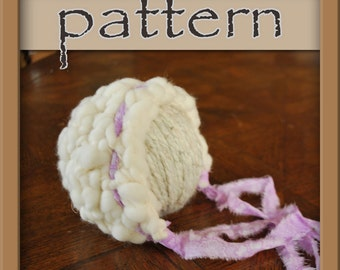 PATTERN Handspun Crochet Newborn Bonnet - Instant Download