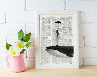 Alice in the Sky with Umbrella (and a Whale) Collage Print on Dictionary Book,alice in wonderland wall art,  ALW026b