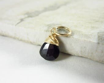 Natural Spinel Jewelry - Black Spinel Pendant - Silver Necklace Charms - 14k Gold Bracelet Charms - Christmas Gift Ideas - Stocking Stuffers