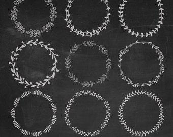 Hand Drawn Laurels Digital Clipart, Chalk Wreaths Clipart, Chalk Laurels Clipart