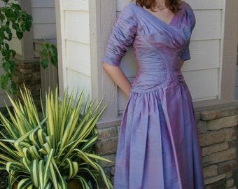 Fifties party dress purple irridescent taffeta full skirt extra small