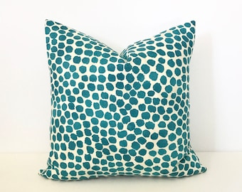 Turquoise watercolor dots pillow cover, dark teal spots pillow