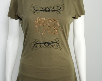 Elephant Bamboo and Organic Cotton T Shirt Copper Rhinestuds Screen Printed Eco-friendly Animal Rights Vegan Army Green Ready to Ship Small