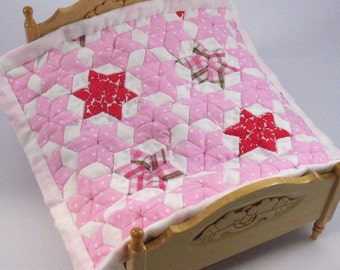 Dollhouse Miniature Patchwork Quilt in 12th Scale - Pink
