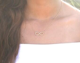 Infinity Necklace, Infinity Pendant, Delicate Gold Necklace, Infinity Sign Charm, Goldfilled Infinity Charm, Silver Infinity Necklace, Gift.
