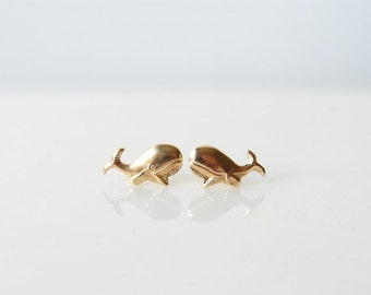 Teeny Tiny Gold Whale Earrings. Smiling Whale Stud Earrings. Simple Modern Jewelry by PetitBlue