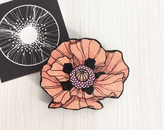 Pink Poppy wooden Brooch