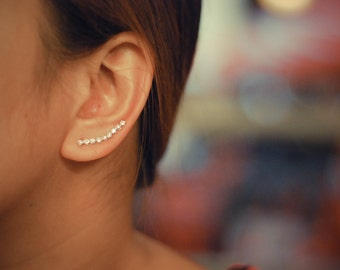 Pink Zircon Ear Climbers Sterling Silver - Lucky 9s