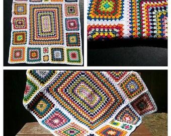 Retro crochet lap blanket, cot blanket, Afghan,