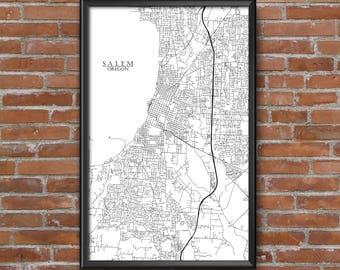 Salem, Oregon Map Art