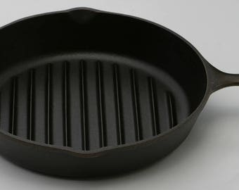 """Vintage Lodge x-Large Size 11 3/8"""" Width No. 9 Cast Iron Broiler Grill Skillet Fry Pan Professionally Cleaned  & Organically Seasoned"""