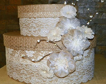 Wedding Card Box, Burlap Flowers, Lace and Ribbons Cover this Tierd Cake Oval Box Set 11 1/2 High x 13 Long, Use for the Shower then Wedding