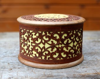 Wooden Box Carving Jewelry Walnut Birch Bark Round Box