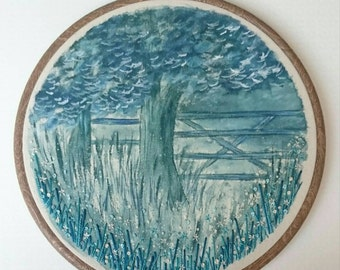 Through the Gate - Hand Painted & Stitched Embroidery Hoop Artwork