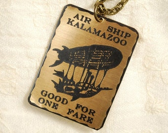 Airship Necklace - Etched Fused Glass on Bronze Jewelry