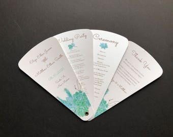 Succulent Wedding Program Petal Fan