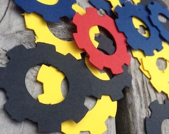 Transformer vector gear confetti, red,blue,yellow,black,bumblebee,optimus prime, birthday party, decor