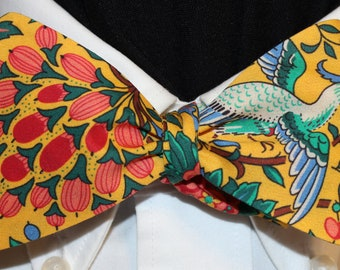 PARADISE FOUND Bow Tie: Liberty of London cotton, self tie, handmade in your size, for well-dressed men and women; fruit, birds, flowers