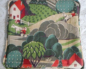"""Peaceful COUNTRY FARM PILLOW Cover, Art Deco Barkcloth Red Roof House & Barns Horses Milk Cow Green Trees Gray Cloud, Vintage Fabrics 15"""" sq"""