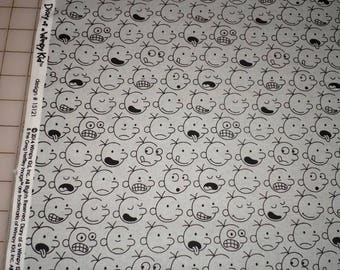 DIARY of a WIMPY KID faces on gray cotton fabric by the yard, fq+, Robert Kaufman fabric, 100% cotton fabric!
