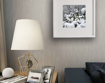 "Photograph ""Snowy leaves"" taken personally by us, already included in the frame and pass-partout"