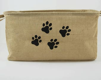 pawprints natural jute basket pet storage dog toy bin pet food bin pet accessories organizer jute basket organizer bin toys & Dog Toy Basket puppy toy basket dog toy storage dog toy