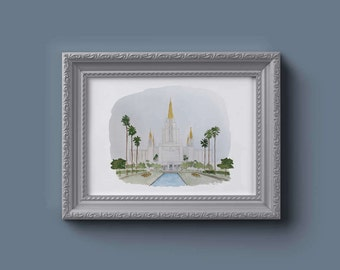 Oakland LDS Watercolor Temple Print