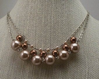 Curved Dusty Rose Necklace, Beaded Pearl Necklace, Simple Everyday Necklace